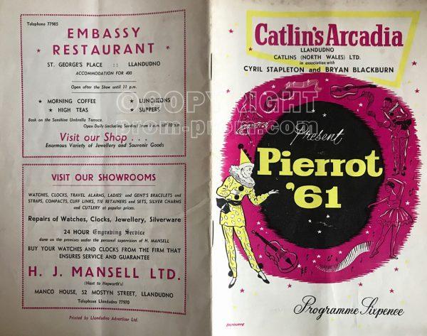 Catlin's Arcadia Llandudno programme Pierrot 1961