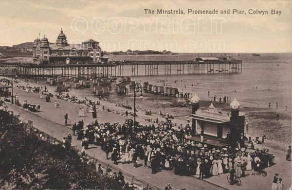 The Minstels Promenade and Pier postcard Colwyn Bay