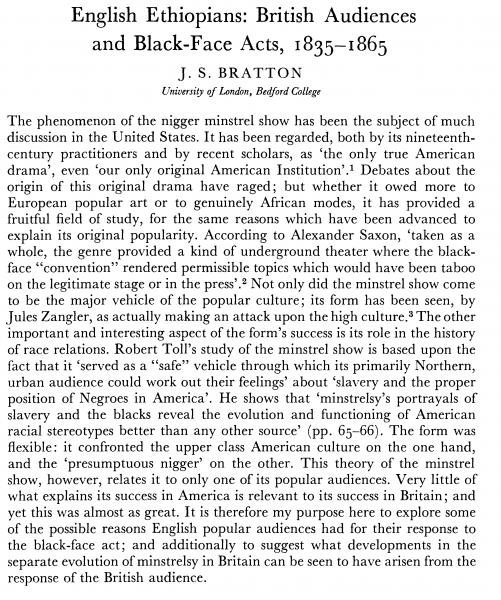 English Ethiopians - British Audiences and Black Face 1835 -1865